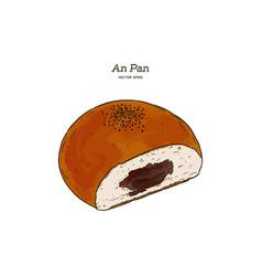 Anpan bread drawing sweet bun food vector