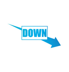 arrow pointing downwards showing business crisis vector image
