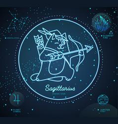 Astrology neon sagittarius sign funny cat vector