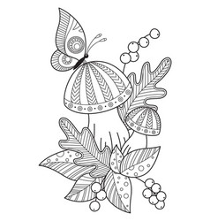 autumn doodle coloring book page mushrooms leaves vector image
