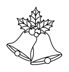 Bells christmas with leafs and seeds line style vector