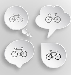 Bicycle White flat buttons on gray background vector