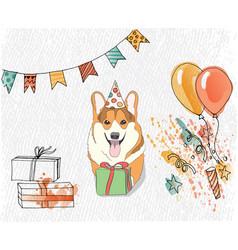 birthday card with corgi that congratulates you vector image