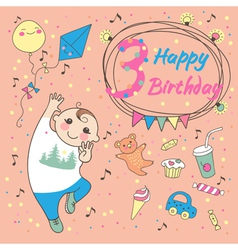 Birthday of the little boy 3 years vector image