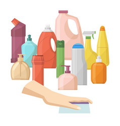 Bottles household chemicals supplies and vector
