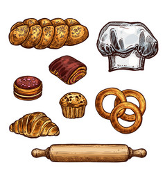 Bread croissant and bun cake and cupcake sketch vector