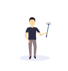 brunette man doing selfie self stick standing pose vector image