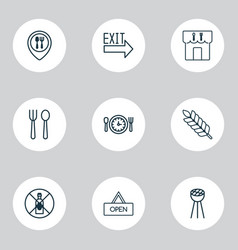 cafe icons set with silverware lunch time vector image