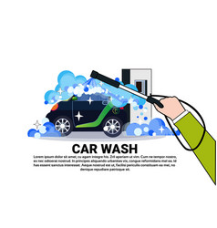 Car wash service banner with cleaning vehicle over vector