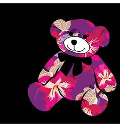 Cartoon bear The silhouette of the elephant vector image vector image