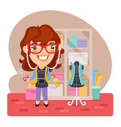 Cartoon girl tailor vector