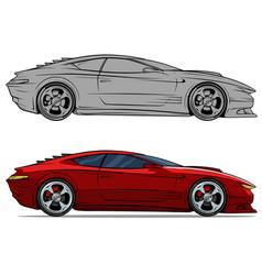 cartoon modern red sport racing car set vector image