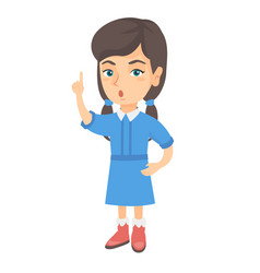 caucasian girl with open mouth pointing finger up vector image