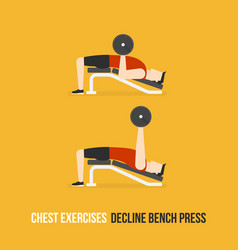 Chest exercises decline bench press vector