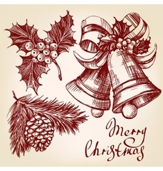 Christmas decorations set hand drawn vector image