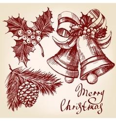 Christmas decorations set hand drawn vector