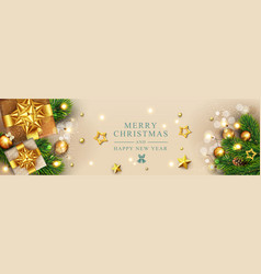 christmas poster with decorations balls gifts vector image