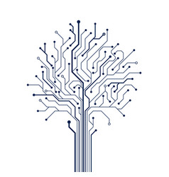 Circuit tree on white background technology vector