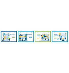 collection of landing pages recruitment job vector image