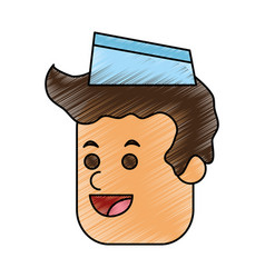 Color pencil cartoon face male food seller with vector