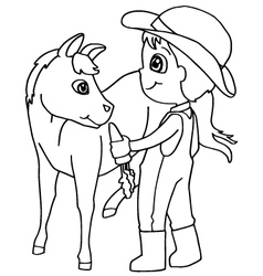 Coloring book child feeding horse vector