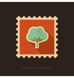 Cotton retro flat stamp with long shadow vector image