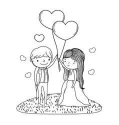 Couple marriage cute cartoon in black and white vector