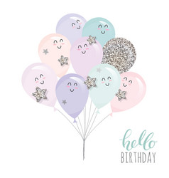 cute kawaii balloons for birthday bashower or vector image