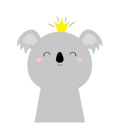 Cute koala bear face head icon kawaii animal vector
