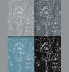 Dandelion flower abstract pattern set collection vector