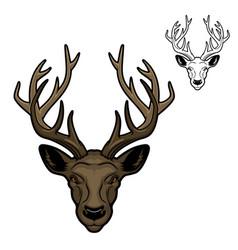 Deer animal head with antlers mascot vector