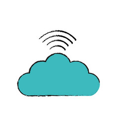 Digital cloud data wifi connect vector
