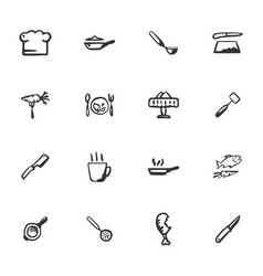 doodle kitchenware and food icons set vector image