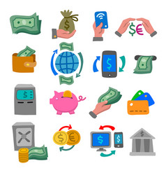 finance and banking color icons vector image