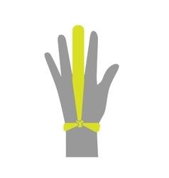 Flat icon injured finger with bandage vector image