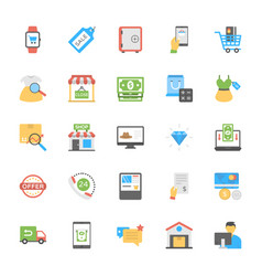 Flat shopping and commerce icons vector