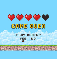 game over pixel art arcade game screen vector image