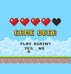 Game over pixel art arcade screen vector