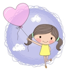 Girl with balloon vector