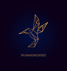 gold hummingbirds line logo designs vector image