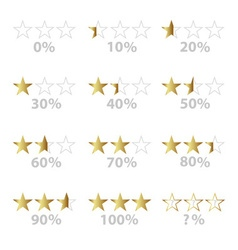 Gold stars and percentage for rating and reviews vector