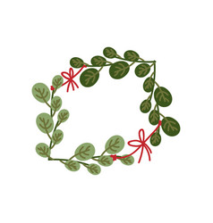 green sprigs with red ribbon frame natural design vector image