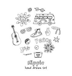 hand drawn Doodle cartoon set of hippie vector image