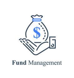 Hand holding big money bag financial solution vector