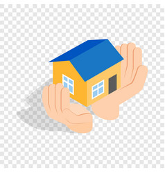 hands holding a house isometric icon vector image