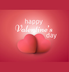 happy valentines day banner realistic 3d hearts vector image