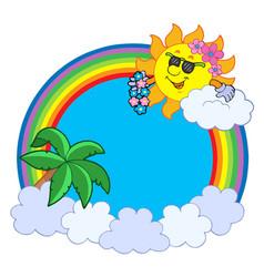 hawaiian rainbow circle vector image