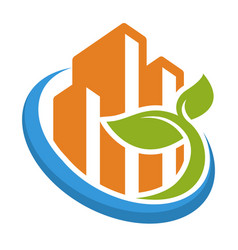 Icon logo with green city management concept vector