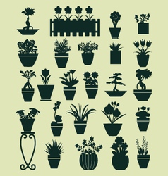 icons set of Plant silhouette collection vector image