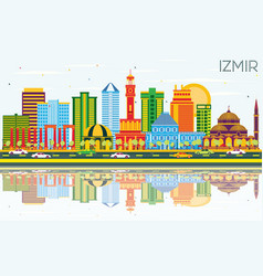 Izmir turkey city skyline with color buildings vector